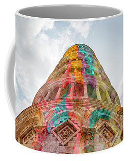 Coffee Mug featuring the mixed media Colourful Leaning Tower Of Pisa by Clare Bambers