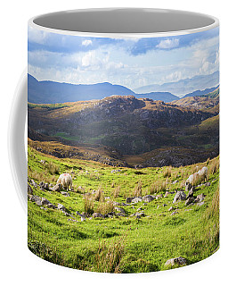 Coffee Mug featuring the photograph Colourful Undulating Irish Landscape In Kerry With Grazing Sheep by Semmick Photo