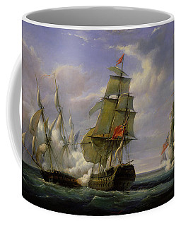 Combat Between The French Frigate La Canonniere And The English Vessel The Tremendous Coffee Mug