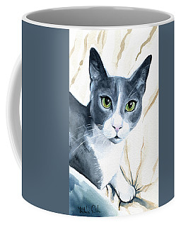 Coffee Mug featuring the painting Come Home - Blue Tuxedo Cat Portrait by Dora Hathazi Mendes