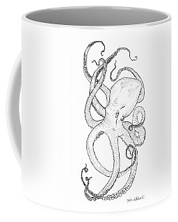 Coffee Mug featuring the drawing Come Let Me Give You A Hug Octopus Drawing by Karen Whitworth