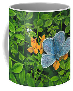 Common Blue On Bird's-foot Trefoil Coffee Mug