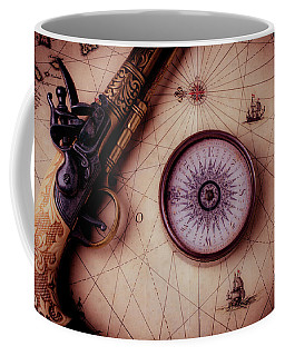 Compass And Pistole On Old Map Coffee Mug
