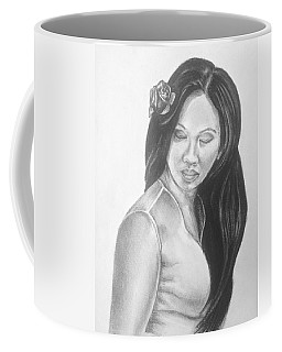 Long Hair Asian Lady With Rose In Sorrow Charcoal Drawing  Coffee Mug