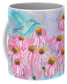 Coneflower Hummingbird Watercolor Coffee Mug