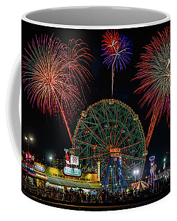 Coffee Mug featuring the photograph Coney Island At Night Fantasy by Chris Lord