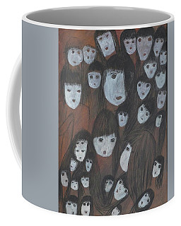 Coffee Mug featuring the painting Connected Spiritual by Maria Iliou