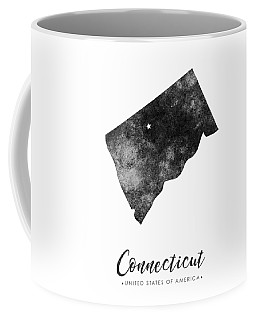 Connecticut State Map Art - Grunge Silhouette Coffee Mug
