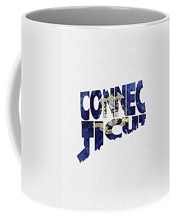 Connecticut Typographic Map Flag Coffee Mug