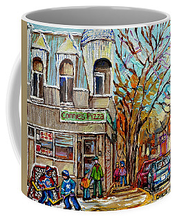 Coffee Mug featuring the painting Connie's Pizza Psc Restaurant Painting Beautiful Winter Street Scene Canadian Hockey Carole Spandau by Carole Spandau