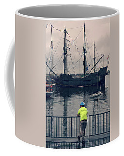 Coffee Mug featuring the photograph Construction Break On Boston Harbor by Joann Vitali