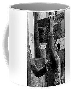 Coffee Mug featuring the photograph Construction Labourer - Bw by Werner Padarin
