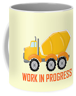 Construction Zone - Concrete Truck Work In Progress Gifts - Yellow Background Coffee Mug