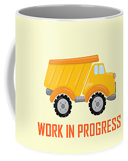 Construction Zone - Dump Truck Work In Progress Gifts - Yellow Background Coffee Mug