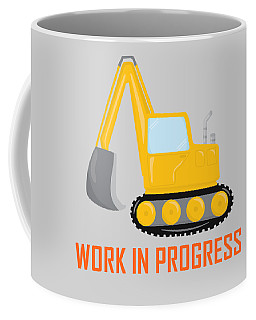 Construction Zone - Excavator Work In Progress Gifts - Grey Background Coffee Mug