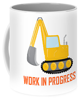 Construction Zone - Excavator Work In Progress Gifts - White Background Coffee Mug