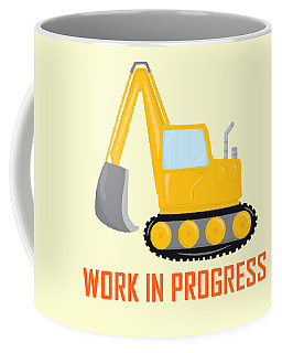 Construction Zone - Excavator Work In Progress Gifts - Yellow Background Coffee Mug