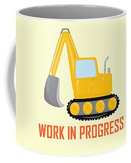 Construction Zone - Excavator Work In Progress Gifts - Yellow Background Coffee Mug