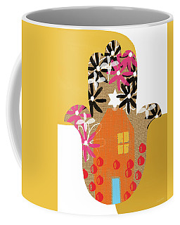 Coffee Mug featuring the mixed media Contemporary Hamsa With House- Art By Linda Woods by Linda Woods