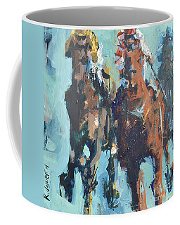 Contemporary Horse Racing Painting Coffee Mug