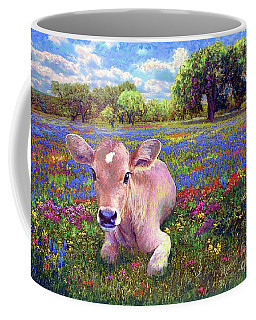 Contented Cow In Colorful Meadow Coffee Mug