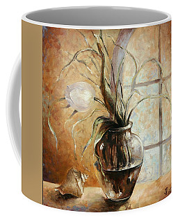 Contre Jour. White Tulip In A Vase.oil Painting On Canvas Coffee Mug