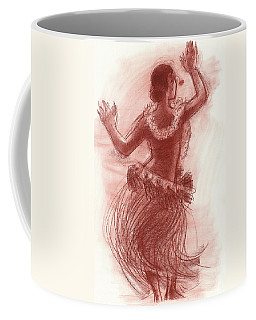 Coffee Mug featuring the drawing Cook Islands Drum Dancer From The Back by Judith Kunzle