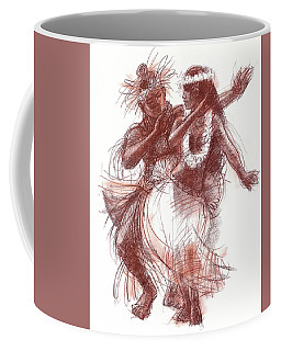 Coffee Mug featuring the drawing Cook Islands Pas-de-deux by Judith Kunzle