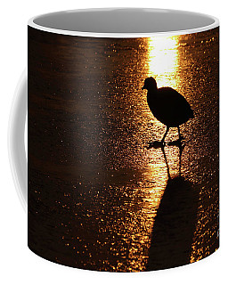 Coot Walks On Golden Ice  Coffee Mug