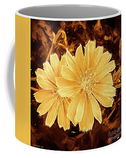 Blue Daisy Twins Copper Coffee Mug