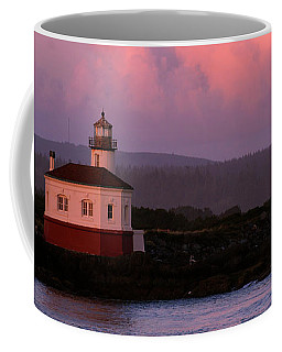 Coquille River Lighthouse Sunset Coffee Mug