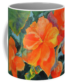 Coffee Mug featuring the painting Coral Begonias by Kathy Braud