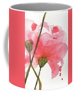 Coffee Mug featuring the painting Coral Poppies by Dawn Derman