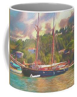 Coffee Mug featuring the photograph Corfu 35 Tall Ship In Paxos by Leigh Kemp