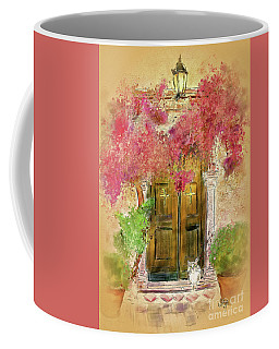 Coffee Mug featuring the digital art Corfu Kitty by Lois Bryan