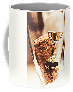 Cork And Trophy Floating In Champagne Flute Coffee Mug