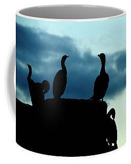 Cormorants In Silhouette Coffee Mug by Victoria Harrington