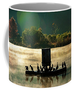 Cormorants On Misty Lake Coffee Mug