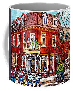 Corner Store Paintings Depanneur Hockey Art Canadian Winter City Scenes Carole Spandau               Coffee Mug