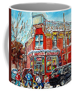 Coffee Mug featuring the painting Corner Store The Point Depanneur Painting Quebec Hockey Art Carole Spandau by Carole Spandau