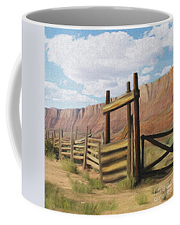 Corral Gate Coffee Mug by Walter Colvin
