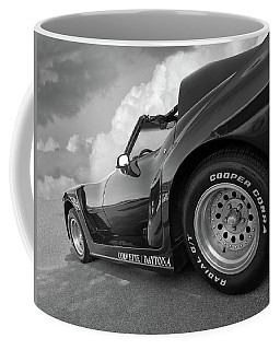 Coffee Mug featuring the photograph Corvette Daytona In Black And White by Gill Billington