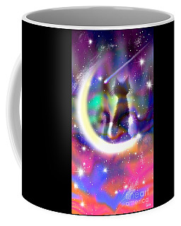 Coffee Mug featuring the painting Cosmic Cat On Crescent Moon by Nick Gustafson