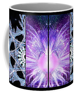 Coffee Mug featuring the mixed media Cosmic Collage Mosaic Left Mirrored by Shawn Dall