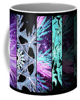 Coffee Mug featuring the mixed media Cosmic Collage Mosaic Left Side Flipped by Shawn Dall