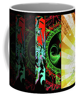 Coffee Mug featuring the mixed media Cosmic Collage Mosaic Right Side Flipped by Shawn Dall
