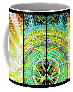 Coffee Mug featuring the mixed media Cosmic Collage Mosaic Right Side Mirrored by Shawn Dall