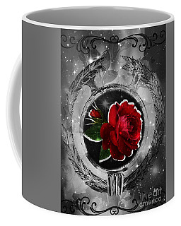 Coffee Mug featuring the digital art Cosmic Rose by Maria Urso