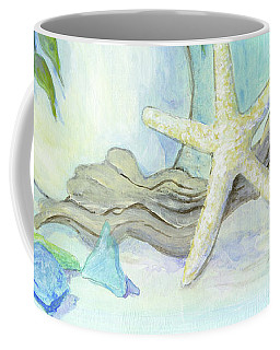 Cottage At The Shore 1 White Hydrangea Bouquet W Driftwood Starfish Sea Glass And Seashell Coffee Mug