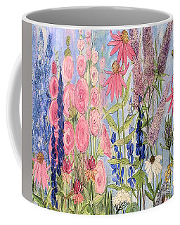 Cottage Flowers With Dragonfly Coffee Mug